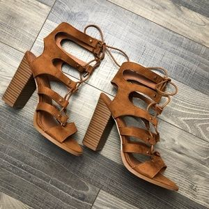 Charlotte Russe, size 8, lace up high heels.